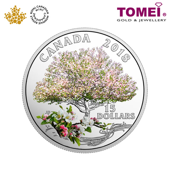 "Tomei x  Royal Canadian Mint Silver 9999 ""2018 Celebration of Spring: Apple Blossoms"" Numismatic Coloured Coin (164509)"