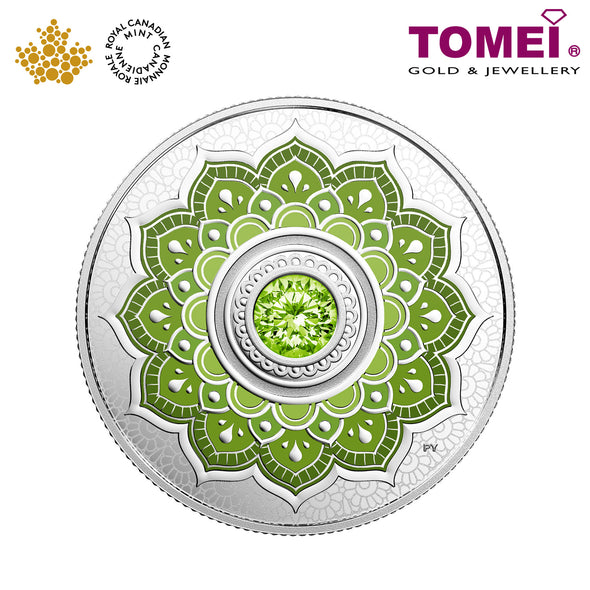"Tomei x Royal Canadian Mint Silver 9999 ""2018 August Birthstone with Swarovski® Crystals"" Numismatic Coin (165445)"
