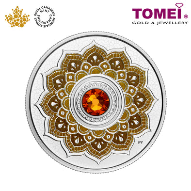 "Tomei x Royal Canadian Mint Silver 9999 ""2018 November Birthstone with Swarovski® Crystals"" Numismatic Coin (165513)"