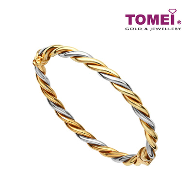 Dual-Tone with Swirling Sophistication Bangle | Tomei Yellow Gold 916 (22K) (IL0009900)