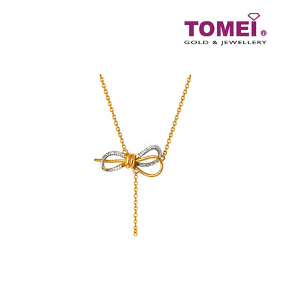 Dazzling Ribbon Necklace | Tomei Yellow Gold 916 (22K) (WS-YG1374N-2C)