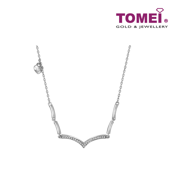 Shimmering Glam Necklace | Tomei White Gold 375 (9K) (B0989)