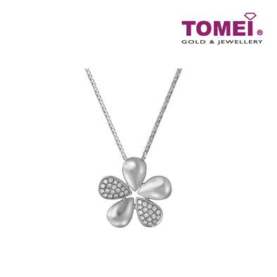 Five Leaf Clover Pendant with Chain | Tomei White Gold 375 (9K) (P5955)