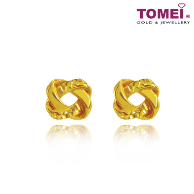"Tomei Yellow Gold 916 (22K) ""Ooh La La"" Love Knot Earrings (9Q-YG1082E-1C)"