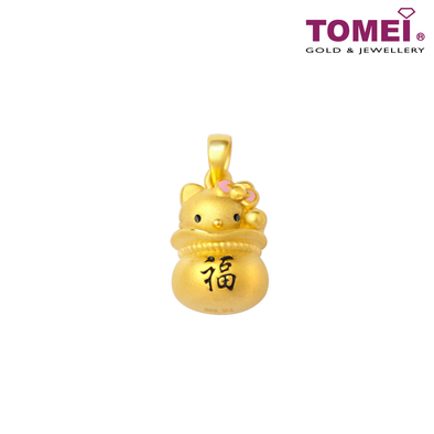 Hello Kitty Gold Fortune and Wealth Pendant | Tomei Yellow Gold 999 (24K) (HK-3D-YS157/8-EC)