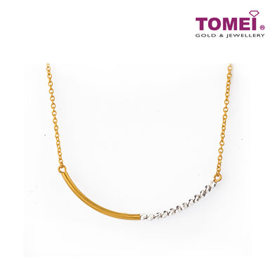 Sensationally Glamorous Curvilinear Duo Necklace| Tomei Yellow Gold 916 (22K) (NN0050-2C)