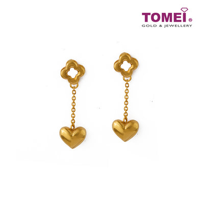 Sensational Duo of Hearts Aflutter with Love  Earrings | Tomei Yellow Gold 916 (22K) (EE3064-B-1C)