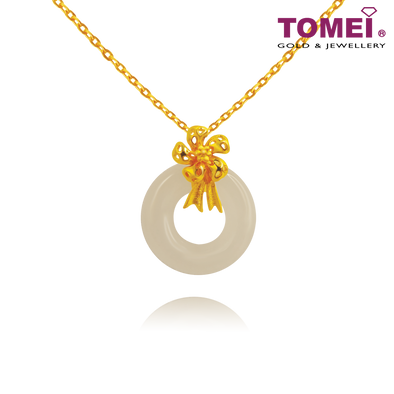 "[Online Exclusive] Tomei Yellow Gold 999 (24K) ""Goldrious Abundance"" Ribbon Flower White Nephrite Pendant (NEP-P-HUA-2)"