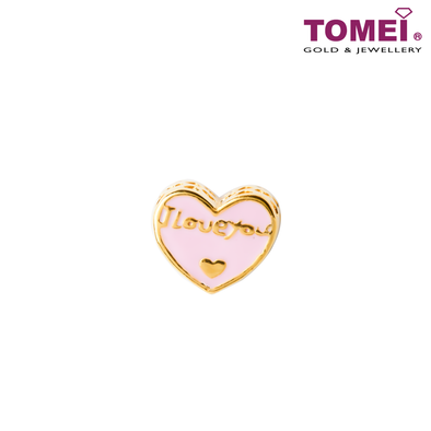 [Online Exclusive] Screaming I Love You Charm | Tomei Yellow Gold 916 (22K) with Complimentary Coral Blue Bracelet (TM-YG0591P-EC)