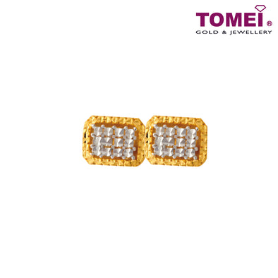 Rectangle Dual-Tone Honeycomb Stud Earrings  | Tomei Yellow Gold 916 (22K) (X3DCNSE7908-1C)