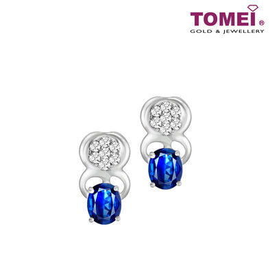 Blue Sapphire Diamond Earrings | Tomei 375 (9K) White Gold (E1147)