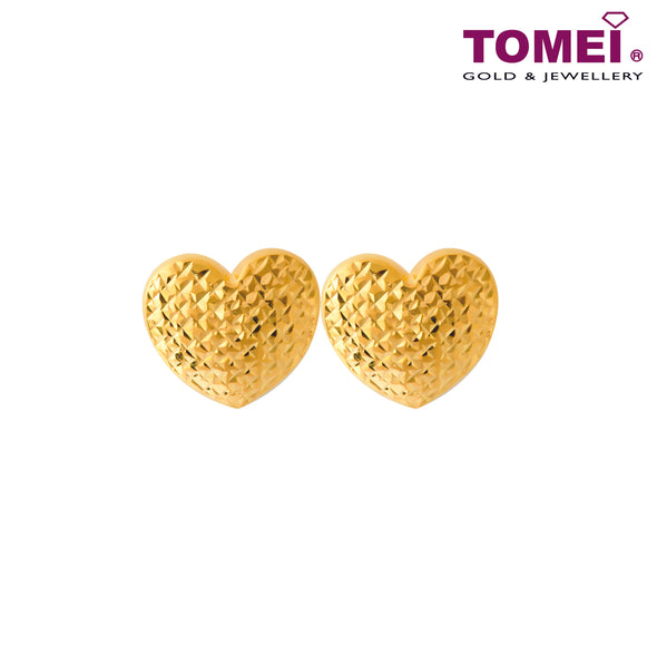 Too Much Love Dual-Tone Honeycomb Stud Earrings | Tomei Yellow Gold 916 (22K) (XDCNSE8123-1C)