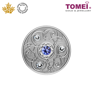 "Tomei x Royal Canadian Mint Silver 9999 ""2020 September Birthstone with Swarovski® Crystals"" Numismatic Coin (165496)"