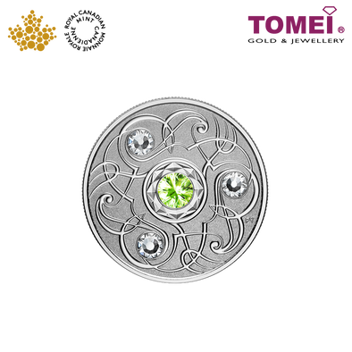 "Tomei x Royal Canadian Mint Silver 9999 ""2020 August Birthstone with Swarovski® Crystals"" Numismatic Coin (165445)"