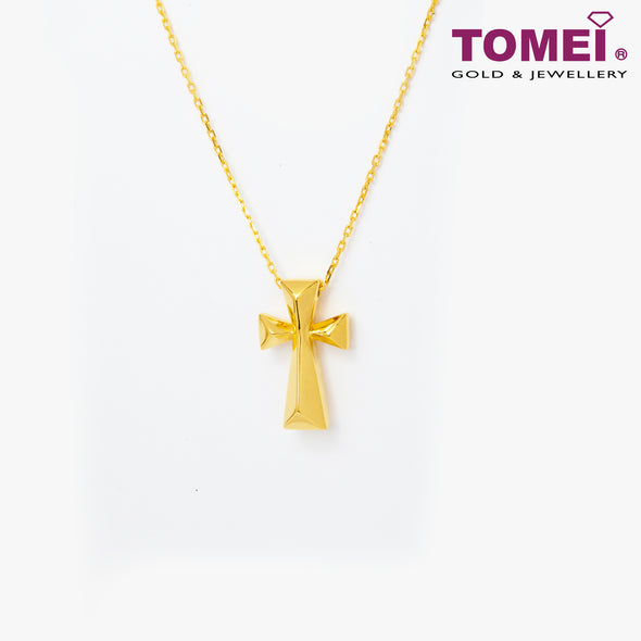 Cross Minimalist Necklace | Tomei Yellow Gold 999 (24K) (BTN-5D-SET2)