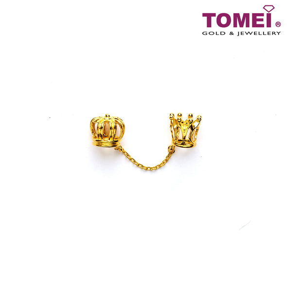 [Online Exclusive]King & Queen 3-Way Crown Stopper Charm | Tomei Yellow Gold 916 (22K) (TM-PT116-1C) Navy Blue