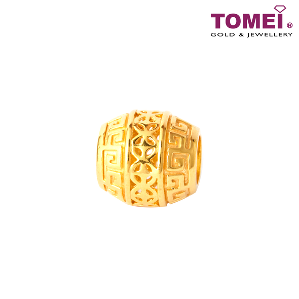 Rolling Money Coin Charm | Tomei Yellow Gold 916 (22K) with Complimentary Navy Blue Bracelet (TM-YG0731P-1C)