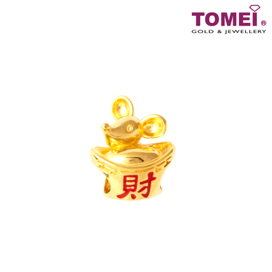 Prosperity Sailing of Wealth Rat Charm | Tomei Yellow Gold 916 (22K) with Complimentary Navy Blue Bracelet (TM-YG0710P-EC)