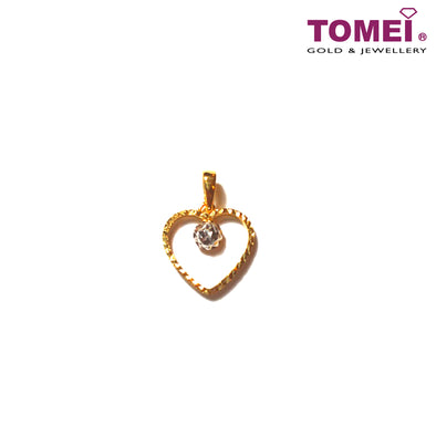 [Online Exclusive] Beguile Glitzy Glam Dual-Tone Pendant with Chain | Tomei Yellow Gold 916 (22K) (9P-DM-P5650-2C-WC)