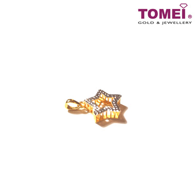 [Online Exclusive] Bedazzle Glitzy Glam Dual-Tone Pendant with Chain | Tomei Yellow Gold 916 (22K) (9P-DM-P6223-2C-WC)