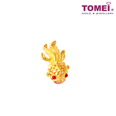Prosperity Delightful Goldfish Charm | Tomei Yellow Gold 916 (22K) with Complimentary Red Bracelet (TM-YG0729P-EC)
