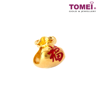Money Bag Charm | Tomei Yellow Gold 916 (22K) with Complimentary Black Bracelet (TM-YG0730P-EC)