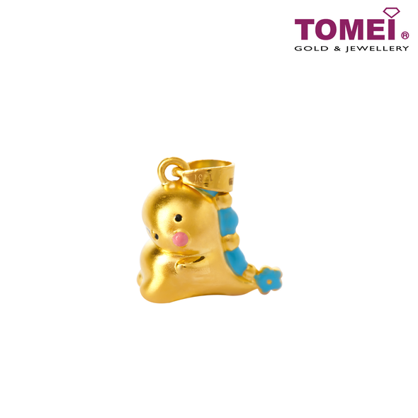 [Online Exclusive] Bubbly & Flowery Dino Love Pendant | Tomei Yellow Gold 999 (5D) with Complimentary Rope Necklace (BTP-5D-EC-HHL)