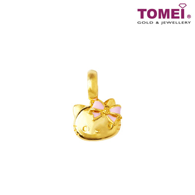 Hello Kitty Charm with Pink Bow | Tomei Yellow Gold 916 (22K) (HK-YG0581P-EC) | Peach Pink Bracelet