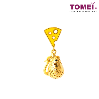 Wish-Fulfilling Rat & Cheese Charm | Tomei Yellow Gold 916 (22K) with Complimentary Red Bracelet (TM-YG0728P-EC)