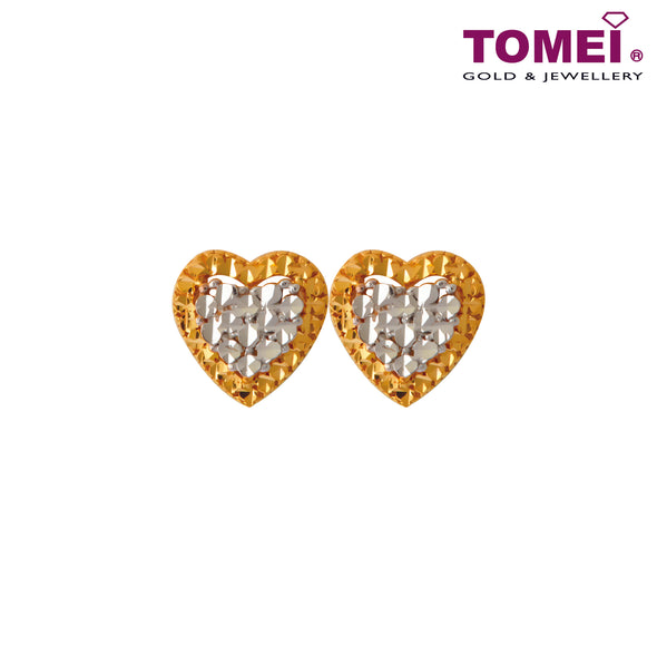 Stolen Hearts Dual-Tone Honeycomb Stud Earrings | Tomei Yellow Gold 916 (22K) (X3DCNSE7908-1C)