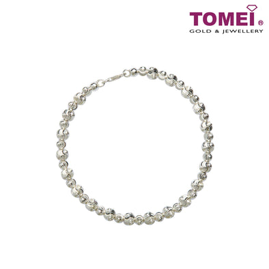 [Online Exclusive] Frosty Faith Bead Bangle | 20 cm | Tomei Sterling Silver 925 (SG0002)