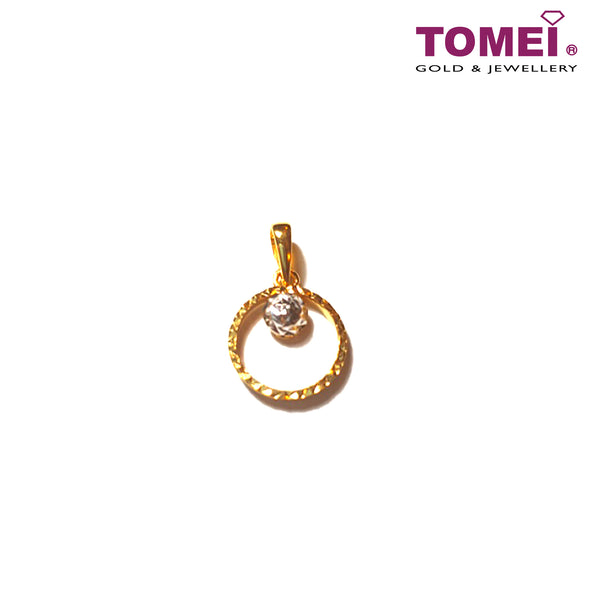 [Online Exclusive] Bejewel Glitzy Glam Dual-Tone Pendant with Chain | Tomei Yellow Gold 916 (22K) (9P-DM-P5652-2C-WC)