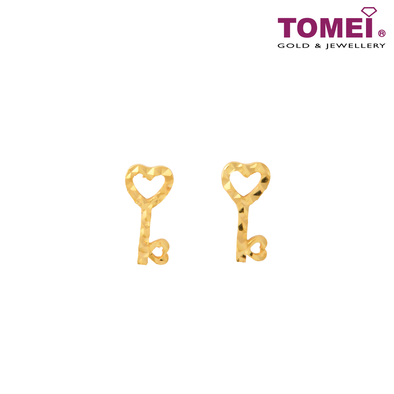 Key to My Heart Tesoro Mio Italy Earrings | Tomei Yellow Gold 916 (22K) (IQ-112-TME020-1C)