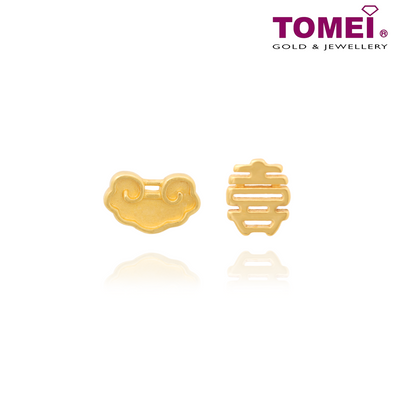 Ruyi of Happiness Earrings (如意之喜混合耳环) | Tomei Yellow Gold 916 (22K) (WS-DM-YG1085E-1C)