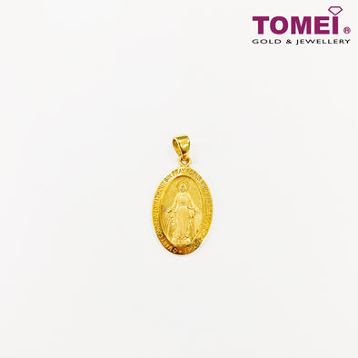 [Last Piece]Virgin Mary Maria Miraculous Medal Pendant | Tomei Yellow Gold 916 (22K) (KP8616-SM-1C)