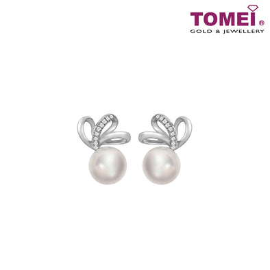 Tri Petal Pearl Diamond Earrings | Tomei 375 (9K) White Gold (E1137)