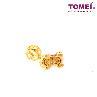 Wealthy Baby Pixiu Charm | Tomei Yellow Gold 916 (22K) with Complimentary Red Bracelet (TM-YG0732P-EC)