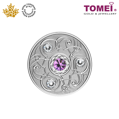 "Tomei x Royal Canadian Mint Silver 9999 ""2020 February Birthstone with Swarovski® Crystals"" Numismatic Coin (164214)"