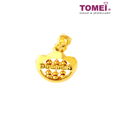 Best of The Best Sycee Abacus Charm | Tomei Yellow Gold 916 (22K) with Complimentary Red Bracelet (TM-P0022-1C)