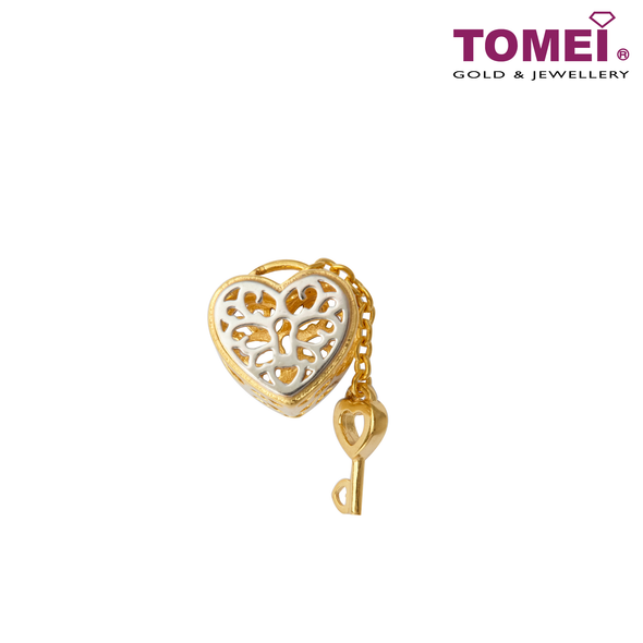 [Online Exclusive] Flaming Heart Love Lock Charm | Tomei Yellow Gold 916 (22K) with Complimentary Navy Blue Bracelet (TM-YG0683P-2C)