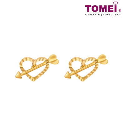 Tomei Yellow Gold 916 (22K) Love Struck Earrings (9Q-ER1387-1C)