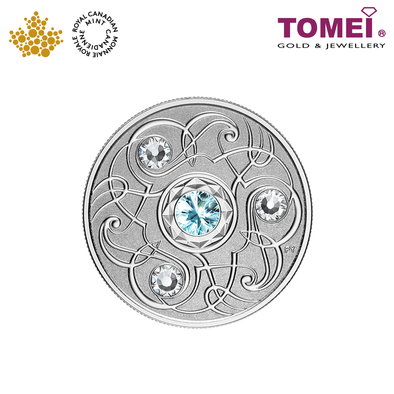 "Tomei x Royal Canadian Mint Silver 9999 ""2020 March Birthstone with Swarovski® Crystals"" Numismatic Coin (164222)"