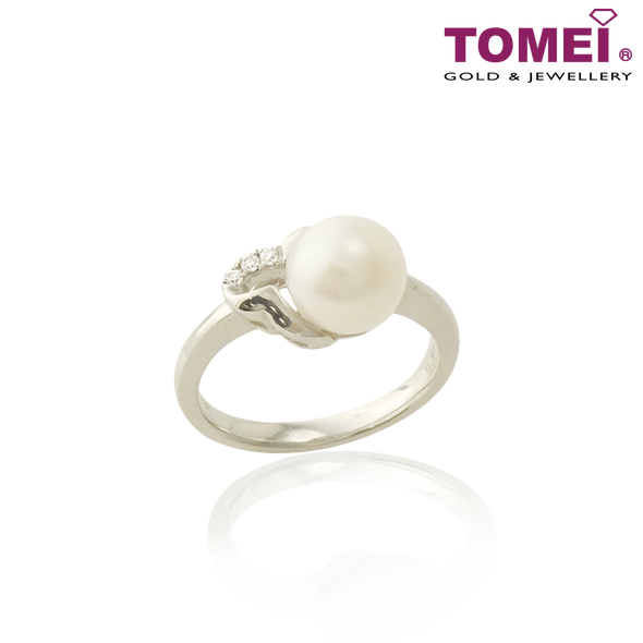 Tomei 375 (9K) White Gold Purest Love Pearl Diamond Ring (R3623)