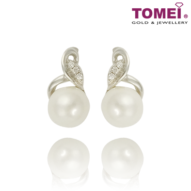Tomei 375 (9K) White Gold Purest Love Pearl Diamond Earrings (E1461)