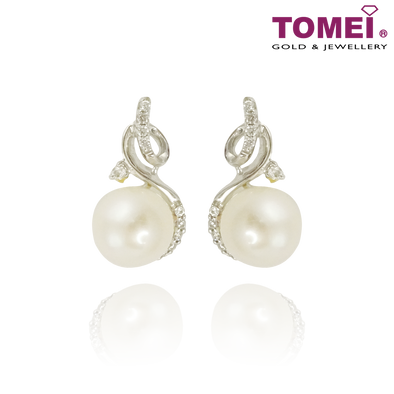 Tomei 375 (9K) White Gold Purest Love Pearl Diamond Earrings (E1511V)