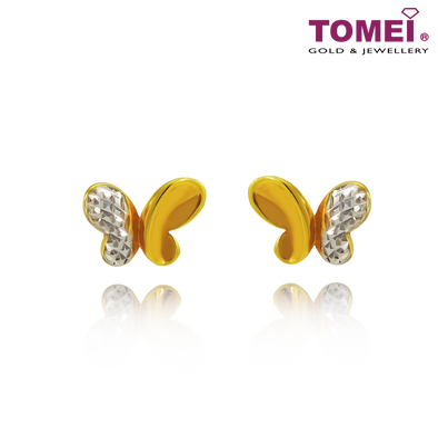 Lovingly Sweet Butterfly Dual-Tone Earrings | Tomei Yellow Gold 916 (22K) (9Q-YG1072E-2C)