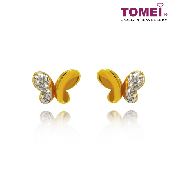 "Tomei Yellow Gold 916 (22K) ""Ooh La La"" Butterfly Dual-Tone Earrings (9Q-YG1072E-2C)"