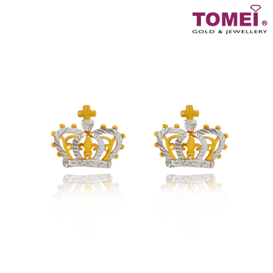 "Tomei Yellow Gold 916 (22K) ""Ooh La La"" Crown Earrings (9Q-YG1101E-2C)"