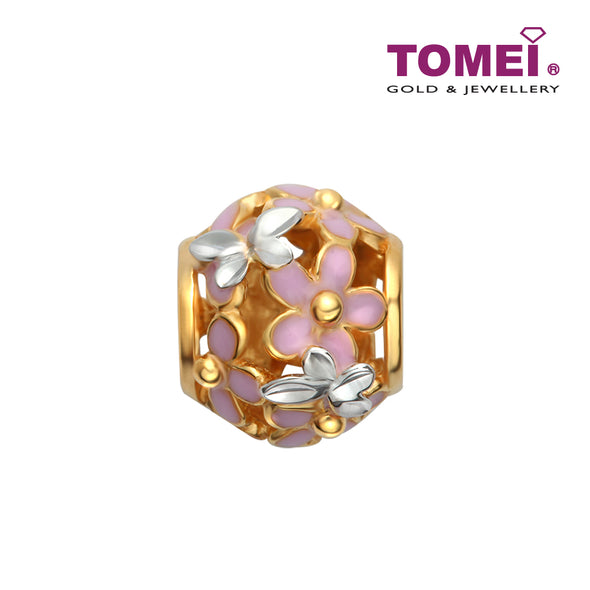 [Online Exclusive] Sweet Floral Charm | Tomei Yellow Gold 916 (22K) (TM-YG0687P-EC) Peach Pink