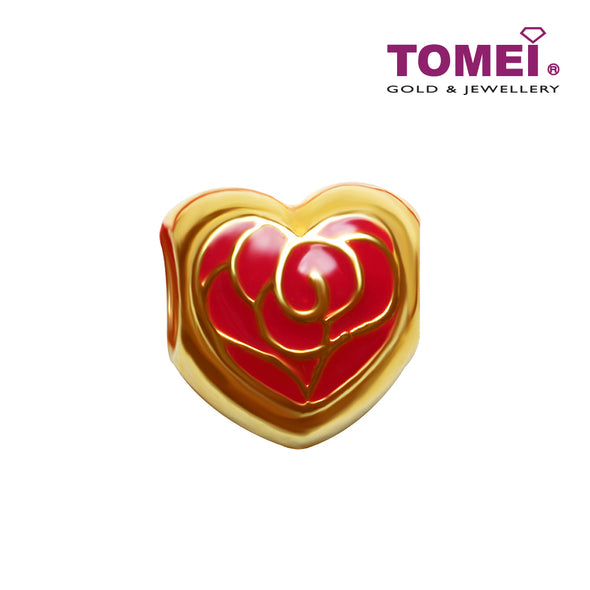 [Online Exclusive]Red Rose in Golden Armour Charm | Tomei Yellow Gold 916 (22K) (TM-P2370-R-EC)